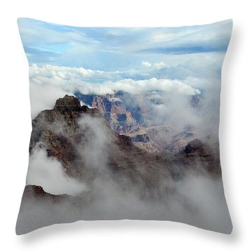 Fog Shrouded Vishnu Temple  Throw Pillow