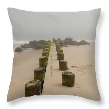 Fog Sits On Bay Head Beach - Jersey Shore Throw Pillow