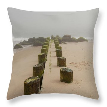 Fog Sits On Bay Head Beach - Jersey Shore Throw Pillow