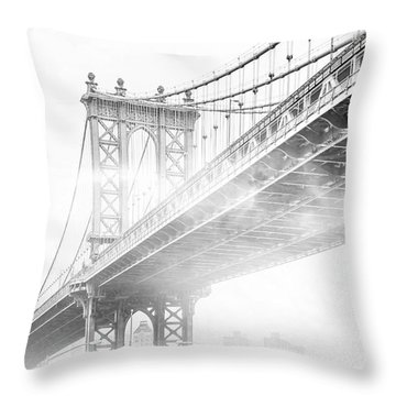 Fog Under The Manhattan Bw Throw Pillow by Az Jackson