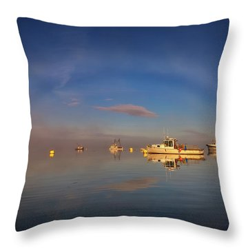 Throw Pillow featuring the photograph Fogbow In Lubec Harbor by Rick Berk