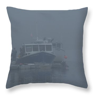 Fogged In At Owls Head Throw Pillow