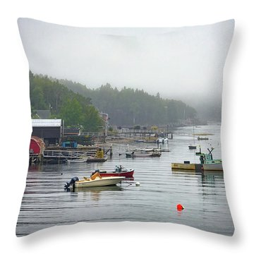 Foggy Afternoon In Mackerel Cove  Throw Pillow