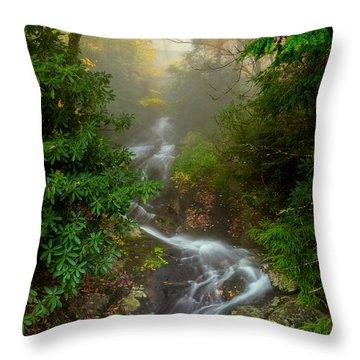 Foggy Autumn Cascades Throw Pillow