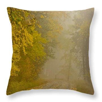 Foggy Autumn Morn Throw Pillow by Albert Seger