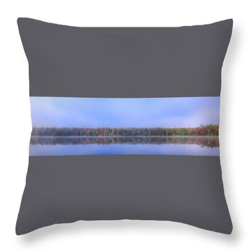 Throw Pillow featuring the photograph Foggy Autumn Panorama by David Patterson