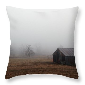 Foggy Barnyard Throw Pillow