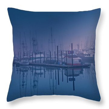 Foggy Bay Front Throw Pillow