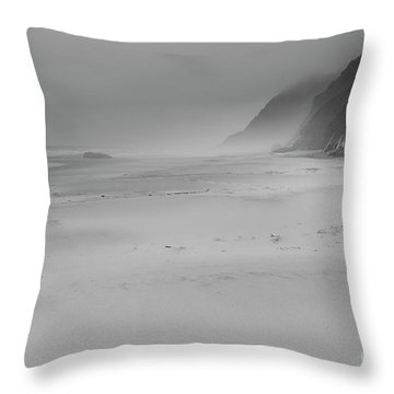 Foggy Beach Throw Pillow