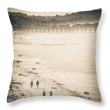 Foggy Beach Walk Throw Pillow