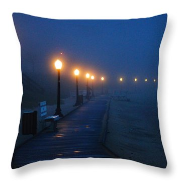Foggy Boardwalk Blues Throw Pillow
