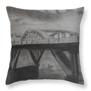Foggy Bridge Throw Pillow