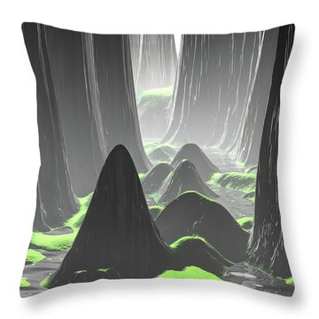 Foggy Canyon Walls Throw Pillow