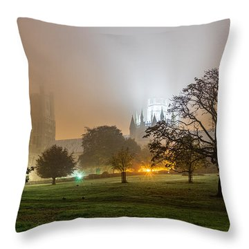 Foggy Cathedral Throw Pillow