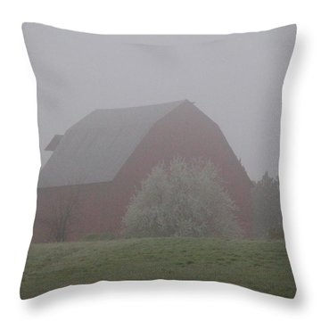 Foggy Country Morning Throw Pillow