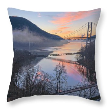 Foggy Dawn At Three Bridges Throw Pillow