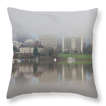 Foggy Day Along Portland Waterfront Panorama Throw Pillow