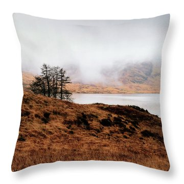 Foggy Day At Loch Arklet Throw Pillow