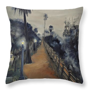 Foggy Day On Ocean Ave Throw Pillow by Lindsay Frost