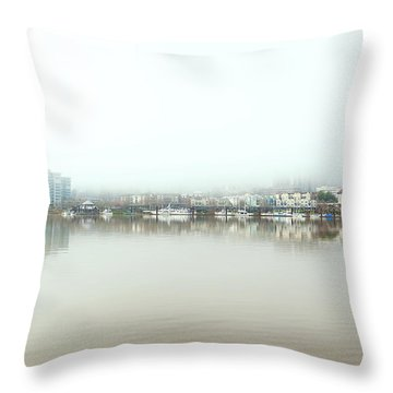 Foggy Day On Portland Downtown Waterfront Throw Pillow
