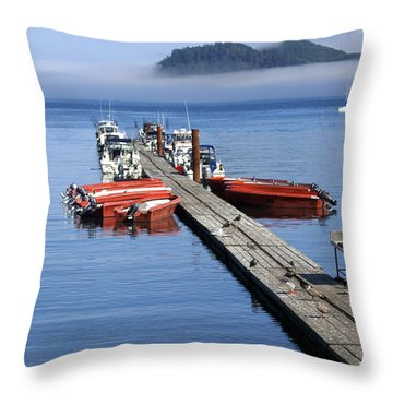 Foggy Dock Throw Pillow by Marty Koch
