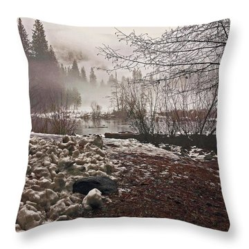Throw Pillow featuring the photograph Foggy Early Morning 2016 by Walter Fahmy
