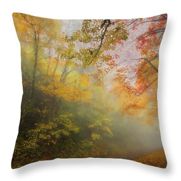 Foggy Fall Foliage II Throw Pillow