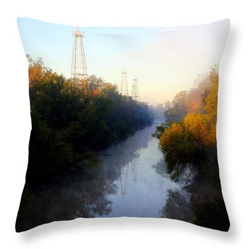 Foggy Fall Morning On The Sabine River Throw Pillow