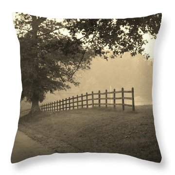 Foggy Fence Line Throw Pillow