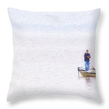 Foggy Fishing Morning Throw Pillow