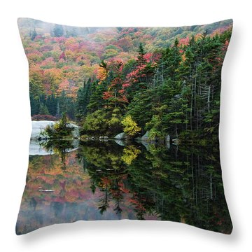 Throw Pillow featuring the photograph Foggy Foliage Morning Kinsman Notch by Jeff Folger