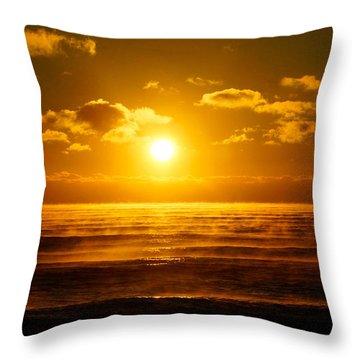 Foggy Gold Sunrise Throw Pillow