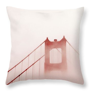Throw Pillow featuring the photograph Foggy Golden Gate by Art Block Collections