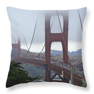 Foggy Golden Gate Throw Pillow by Margaret Brooks