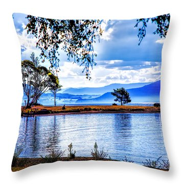 Foggy Hills And Lakes Throw Pillow