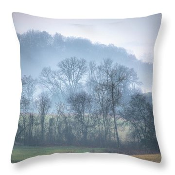 Throw Pillow featuring the photograph Foggy Hills by Wanda Krack
