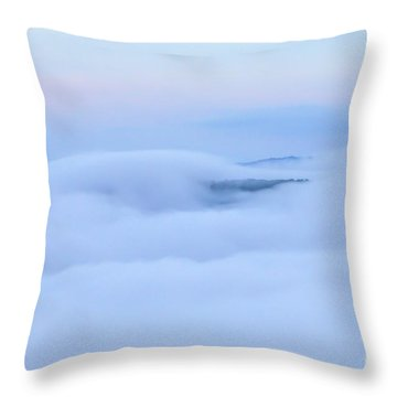 Throw Pillow featuring the photograph Foggy Layers by Kerri Farley
