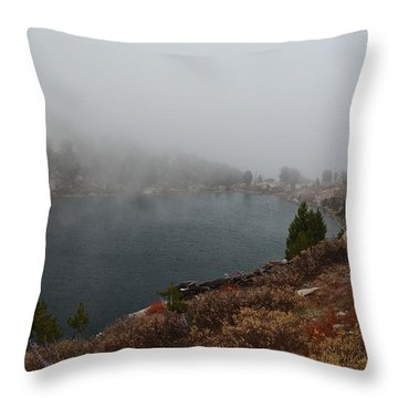 Foggy Liberty Lake Throw Pillow