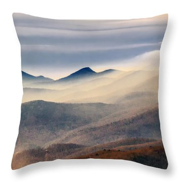 Throw Pillow featuring the photograph Foggy Morning At Hawksbill And Table Rock by Ken Barrett