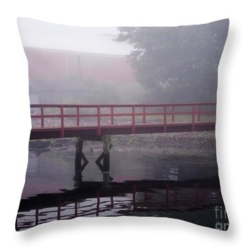 Foggy Morning At The Bridge Throw Pillow