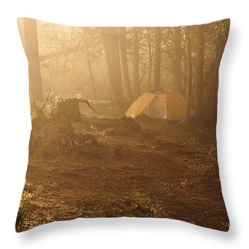 Throw Pillow featuring the photograph Foggy Morning At The Campsite by Larry Ricker