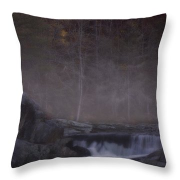 Throw Pillow featuring the photograph Foggy Morning At Linville Falls by Ellen Heaverlo