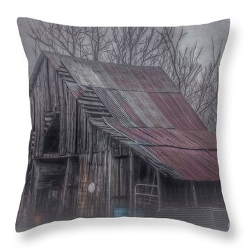 Foggy Morning Backroads Throw Pillow