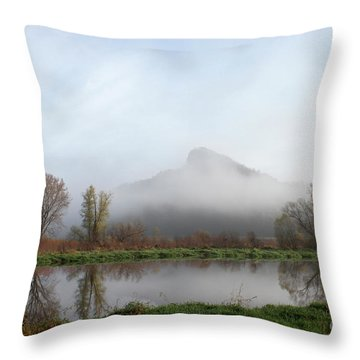 Foggy Morning Bluff Throw Pillow by Inspired Arts