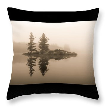 Foggy Morning Caution Throw Pillow