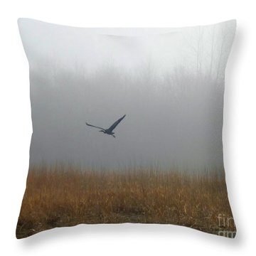 Foggy Morning Heron In Flight Throw Pillow by Helen Campbell