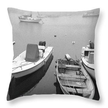 Foggy Morning In Cape Cod Black And White Throw Pillow by Matt Suess