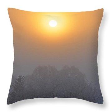 Foggy Morning In Montana's Gallatin Valley Throw Pillow