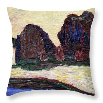 Throw Pillow featuring the painting Sayreville Foggy Morning by Vadim Levin