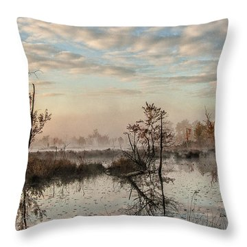 Foggy Morning In The Pines Throw Pillow